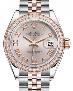 Rolex Lady Datejust 28 Rose Gold/Steel Sundust Roman Dial & Diamond Bezel Jubilee Bracelet 279381RBR - BRAND NEW