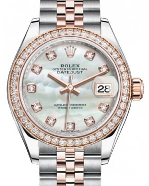 Rolex Lady Datejust 28 Rose Gold/Steel White Mother of Pearl Diamond Dial & Diamond Bezel Jubilee Bracelet 279381RBR - BRAND NEW