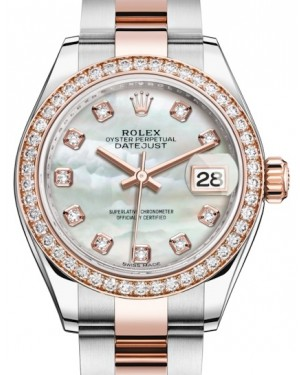 Rolex Lady Datejust 28 Rose Gold/Steel White Mother of Pearl Diamond Dial & Diamond Bezel Oyster Bracelet 279381RBR - BRAND NEW