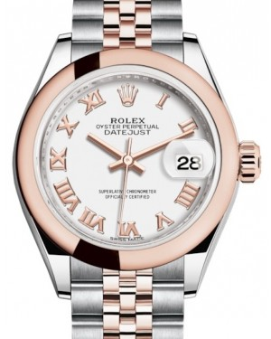 Rolex Lady Datejust 28 Rose Gold/Steel White Roman Dial & Smooth Domed Bezel Jubilee Bracelet 279161 - BRAND NEW
