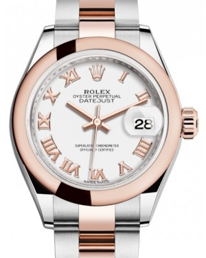 Rolex Lady Datejust 28 Rose Gold/Steel White Roman Dial & Smooth Domed Bezel Oyster Bracelet 279161 - BRAND NEW