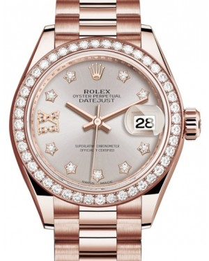 Rolex Lady Datejust 28 Rose Gold Sundust Diamond IX Dial & Diamond Bezel President Bracelet 279135RBR - BRAND NEW