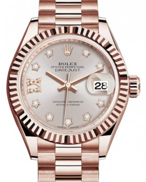 Rolex Lady Datejust 28 Rose Gold Sundust Diamond IX Dial & Fluted Bezel President Bracelet 279175 - BRAND NEW