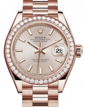 Rolex Lady Datejust 28 Rose Gold Sundust Index Dial & Diamond Bezel President Bracelet 279135RBR - BRAND NEW