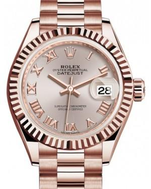 Rolex Lady Datejust 28 Rose Gold Sundust Roman Dial & Fluted Bezel President Bracelet 279175 - BRAND NEW