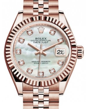 Rolex Lady Datejust 28 Rose Gold White Mother of Pearl Diamond Dial & Fluted Bezel Jubilee Bracelet 279175 - BRAND NEW