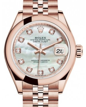 Rolex Lady Datejust 28 Rose Gold White Mother of Pearl Diamond Dial & Smooth Domed Bezel Jubilee Bracelet 279165 - BRAND NEW