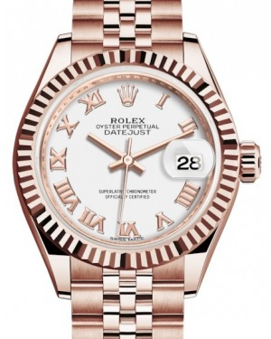 Rolex Lady Datejust 28 Rose Gold White Roman Dial & Fluted Bezel Jubilee Bracelet 279175 - BRAND NEW