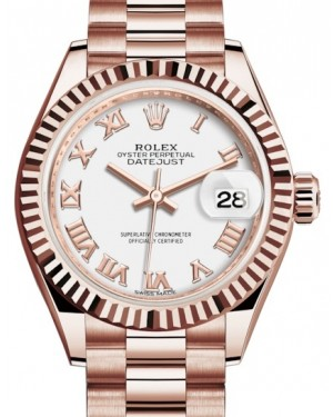 Rolex Lady Datejust 28 Rose Gold White Roman Dial & Fluted Bezel President Bracelet 279175 - BRAND NEW
