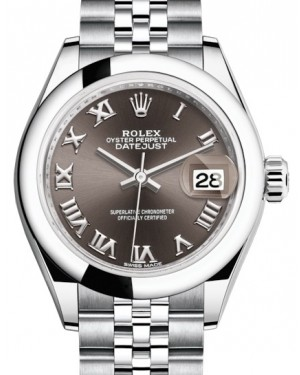Rolex Lady Datejust 28 Stainless Steel Dark Grey Roman Dial & Smooth Domed Bezel Jubilee Bracelet 279160 - BRAND NEW