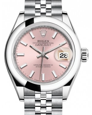 Rolex Lady Datejust 28 Stainless Steel Pink Index Dial & Smooth Domed Bezel Jubilee Bracelet 279160 - BRAND NEW