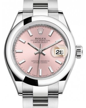 Rolex Lady Datejust 28 Stainless Steel Pink Index Dial & Smooth Domed Bezel Oyster Bracelet 279160 - BRAND NEW