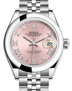 Rolex Lady Datejust 28 Stainless Steel Pink Roman Dial & Smooth Domed Bezel Jubilee Bracelet 279160 - BRAND NEW