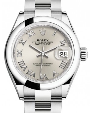 Rolex Lady Datejust 28 Stainless Steel Silver Roman Dial & Smooth Domed Bezel Oyster Bracelet 279160 - BRAND NEW