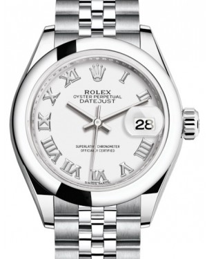 Rolex Lady Datejust 28 Stainless Steel White Roman Dial & Smooth Domed Bezel Jubilee Bracelet 279160 - BRAND NEW