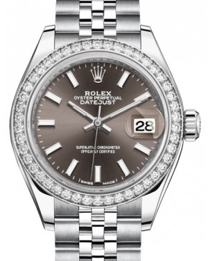 Rolex Lady Datejust 28 White Gold/Steel Dark Grey Index Dial & Diamond Bezel Jubilee Bracelet 279384RBR - BRAND NEW