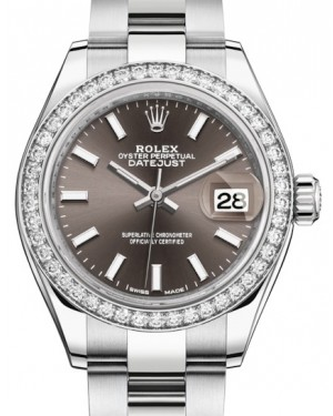 Rolex Lady Datejust 28 White Gold/Steel Dark Grey Index Dial & Diamond Bezel Oyster Bracelet 279384RBR - BRAND NEW