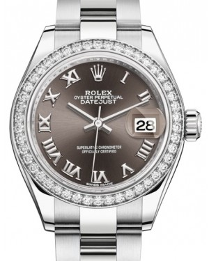 Rolex Lady Datejust 28 White Gold/Steel Dark Grey Roman Dial & Diamond Bezel Oyster Bracelet 279384RBR - BRAND NEW