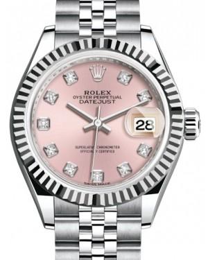 Rolex Lady Datejust 28 White Gold/Steel Pink Diamond Dial & Fluted Bezel Jubilee Bracelet 279174 - BRAND NEW
