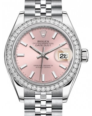 Rolex Lady Datejust 28 White Gold/Steel Pink Index Dial & Diamond Bezel Jubilee Bracelet 279384RBR - BRAND NEW