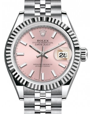 Rolex Lady Datejust 28 White Gold/Steel Pink Index Dial & Fluted Bezel Jubilee Bracelet 279174 - BRAND NEW