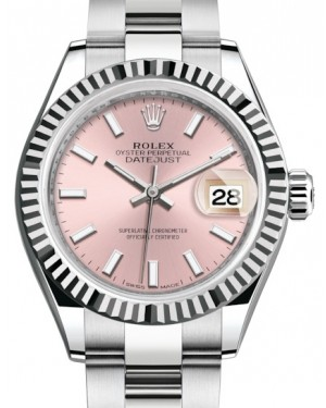 Rolex Lady Datejust 28 White Gold/Steel Pink Index Dial & Fluted Bezel Oyster Bracelet 279174 - BRAND NEW