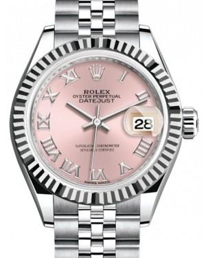 Rolex Lady Datejust 28 White Gold/Steel Pink Roman Dial & Fluted Bezel Jubilee Bracelet 279174 - BRAND NEW