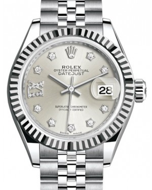 Rolex Lady Datejust 28 White Gold/Steel Silver Diamond IX Dial & Fluted Bezel Jubilee Bracelet 279174 - BRAND NEW