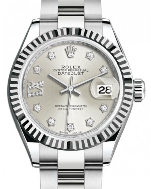 Rolex Lady Datejust 28 White Gold/Steel Silver Diamond IX Dial & Fluted Bezel Oyster Bracelet 279174 - BRAND NEW