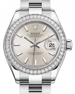 Rolex Lady Datejust 28 White Gold/Steel Silver Index Dial & Diamond Bezel Oyster Bracelet 279384RBR - BRAND NEW