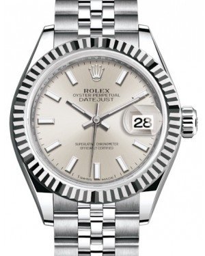 Rolex Lady Datejust 28 White Gold/Steel Silver Index Dial & Fluted Bezel Jubilee Bracelet 279174 - BRAND NEW