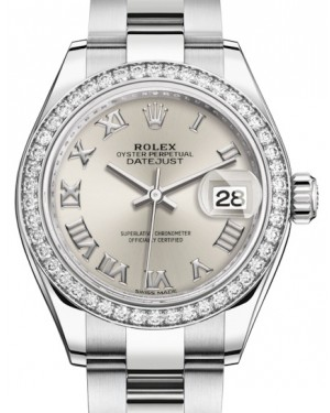 Rolex Lady Datejust 28 White Gold/Steel Silver Roman Dial & Diamond Bezel Oyster Bracelet 279384RBR - BRAND NEW