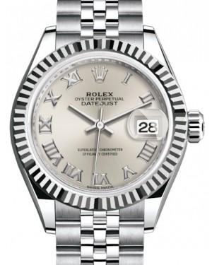 Rolex Lady Datejust 28 White Gold/Steel Silver Roman Dial & Fluted Bezel Jubilee Bracelet 279174 - BRAND NEW