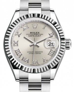 Rolex Lady Datejust 28 White Gold/Steel Silver Roman Dial & Fluted Bezel Oyster Bracelet 279174 - BRAND NEW