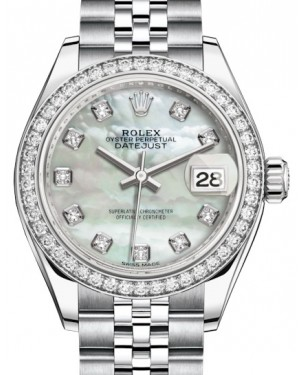 Rolex Lady Datejust 28 White Gold/Steel White Mother of Pearl Diamond Dial & Diamond Bezel Jubilee Bracelet 279384RBR - BRAND NEW