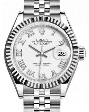 Rolex Lady Datejust 28 White Gold/Steel White Roman Dial & Fluted Bezel Jubilee Bracelet 279174 - BRAND NEW