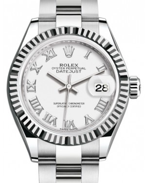 Rolex Lady Datejust 28 White Gold/Steel White Roman Dial & Fluted Bezel Oyster Bracelet 279174 - BRAND NEW