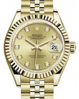 Rolex Lady Datejust 28 Yellow Gold Champagne Diamond Dial & Fluted Bezel Jubilee Bracelet 279178 - BRAND NEW