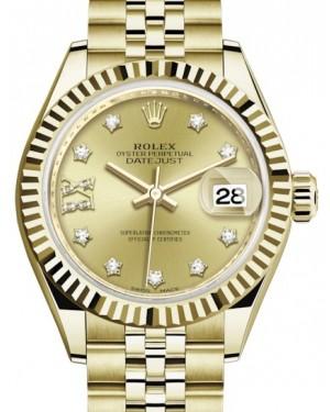 Rolex Lady Datejust 28 Yellow Gold Champagne Diamond IX Dial & Fluted Bezel Jubilee Bracelet 279178 - BRAND NEW