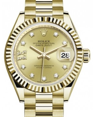 Rolex Lady Datejust 28 Yellow Gold Champagne Diamond IX Dial & Fluted Bezel President Bracelet 279178 - BRAND NEW
