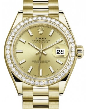 Rolex Lady Datejust 28 Yellow Gold Champagne Index Dial & Diamond Bezel President Bracelet 279138RBR - BRAND NEW