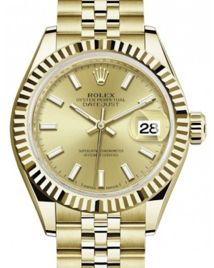 Rolex Lady Datejust 28 Yellow Gold Champagne Index Dial & Fluted Bezel Jubilee Bracelet 279178 - BRAND NEW