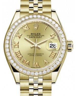 Rolex Lady Datejust 28 Yellow Gold Champagne Roman Dial & Diamond Bezel Jubilee Bracelet 279138RBR - BRAND NEW