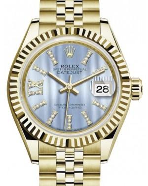 Rolex Lady Datejust 28 Yellow Gold Cornflower Blue Diamond Index/Roman IX Dial & Fluted Bezel Jubilee Bracelet 279178 - BRAND NEW