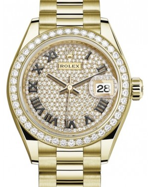 Rolex Lady Datejust 28 Yellow Gold Diamond Paved Roman Dial & Diamond Bezel President Bracelet 279138RBR - BRAND NEW
