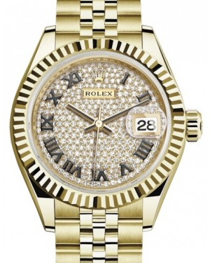 Rolex Lady Datejust 28 Yellow Gold Diamond Paved Roman Dial & Fluted Bezel Jubilee Bracelet 279178 - BRAND NEW