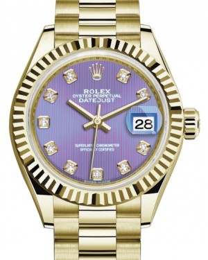 Rolex Lady Datejust 28 Yellow Gold Lavender Diamond Dial & Fluted Bezel President Bracelet 279178 - BRAND NEW