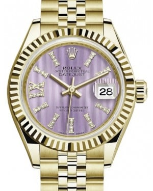 Rolex Lady Datejust 28 Yellow Gold Lilac Diamond Index/Roman IX Dial & Fluted Bezel Jubilee Bracelet 279178 - BRAND NEW