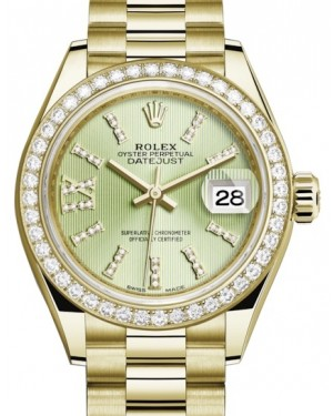 Rolex Lady Datejust 28 Yellow Gold Linden Diamond Index/Roman IX Dial & Diamond Bezel President Bracelet 279138RBR - BRAND NEW