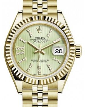 Rolex Lady Datejust 28 Yellow Gold Linden Diamond Index/Roman IX Dial & Fluted Bezel Jubilee Bracelet 279178 - BRAND NEW